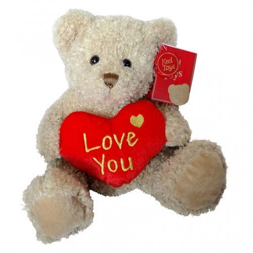 Hjerte Bamse fra Keel Toys 25 cm (brun)